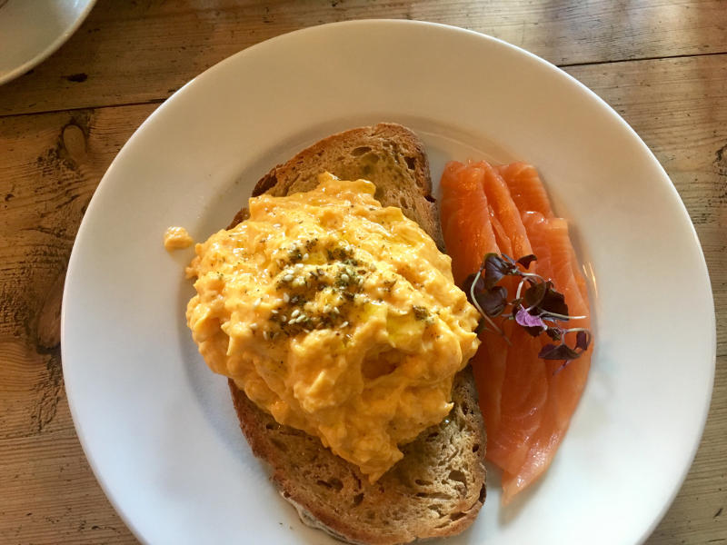 Moxons beech wood smoked salmon, scrambled eggs and organic rye toast from Brooks & Gao Streatham