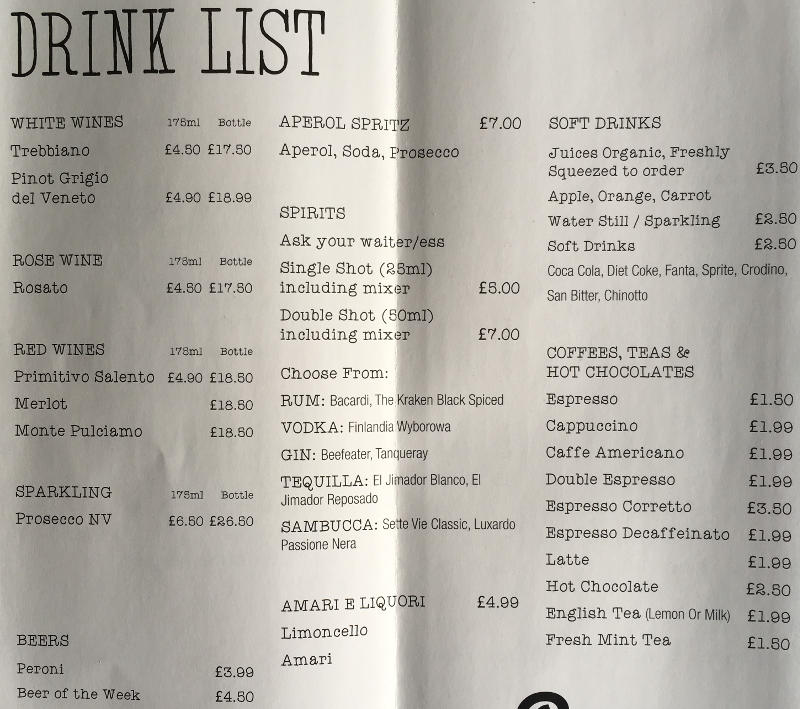 Drinks Menu for Azzurri Pizzeria Streatham Hill