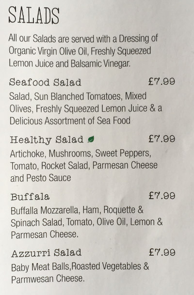 Salad Menu for Azzurri Pizzeria Streatham Hill