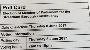 A Poll Card for the election of Member of Parliament for the Streatham Borough constituency