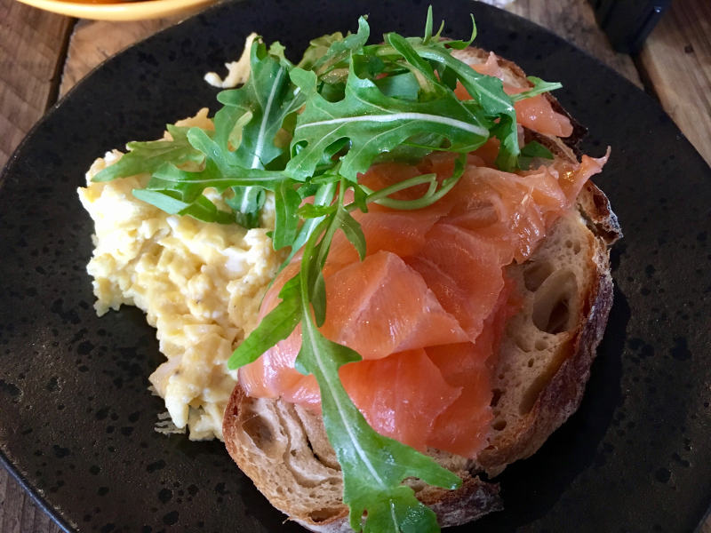 Scrambled Eggs and Smoked Salmon on Toast from Batch & Co in Streatham Hill