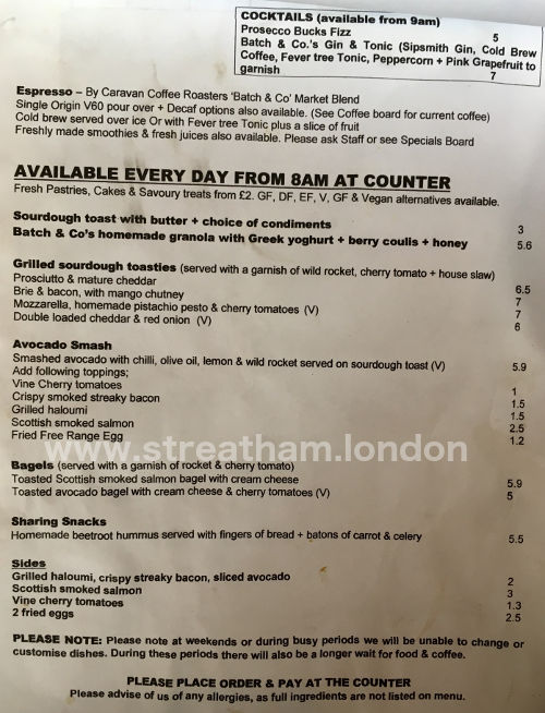 Batch & Co (Streatham Hill) Food Menu