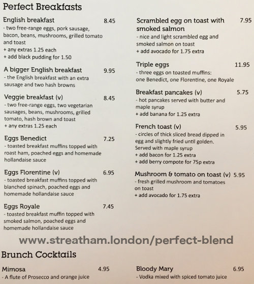 The breakfast menu for Perfect Blend in Streatham Hill