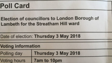 A poll card for the 2018 local council elections (Streatham Hill ward)