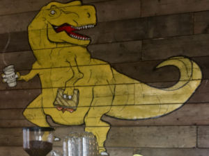 Dinosaur mural at Brickwood Coffee
